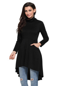 Black Long Sleeve Pocket High Low Tunic
