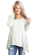 Graceful Lace Inset Side White Women's Top