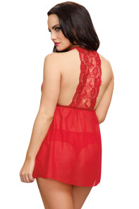 Red Valentine Sexy Lace Mesh Babydoll Lingerie Set
