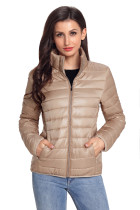 Khaki High Neck Quilted Cotton Jacket