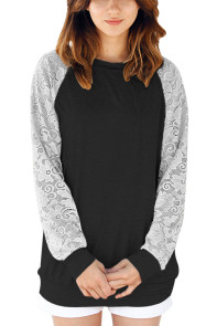 Lace Raglan Sleeve Black Casual Sweatshirt
