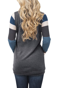 Multicolor Stripes Sleeve Pullover Dark Gray Sweatshirt