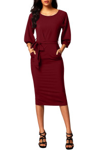Burgundy Puff Sleeve Belt Chiffon Pencil Dress