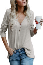 Women's V Neck Buttoned Gray Tunic