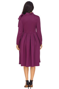 Purple Bowknot Embellished Mock Neck Pocket Dress