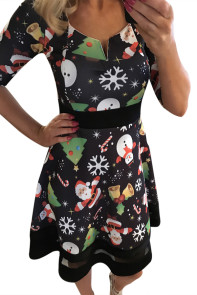 Jolly Christmas Cartoon Print Black A-line Dress