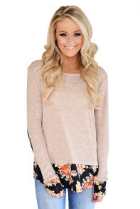Dark Floral Patchwork Taupe Long Sleeve Shirt
