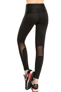Black Gauze Splicing Female Nine Points Yoga Pants