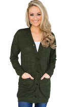 Forest Green Lightweight Knit Button Down Cardigan
