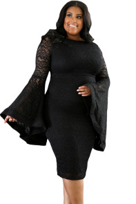 Black Plus Size Bell Sleeves Lace Dress