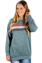 Green Contrast Stripes Pullover Sweatshirt