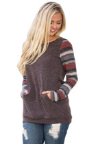 Multicolor Stripes Sleeve Pullover Mocha Sweatshirt
