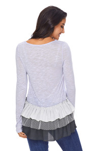 Light Blue Stripes and Lace Ruffle Long Sleeve Top