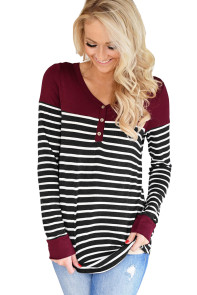 Red Color Block Striped Bodice Top