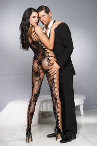 Black Sexy Cut-out Side Rose Pattern Bodystocking