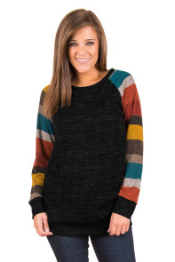 Multicolor Long Sleeve Heathered Black Sweatshirt