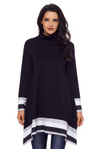 Stylish Varsity Striped Black Long Sleeve Tunic Top