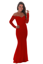 Red Crochet Off Shoulder Maxi Evening Party Dress