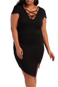 Plus Size Black Strappy Asymmetrical Bodycon Dress