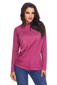 Lilac Long Sleeve Draped Round Neck T Shirt