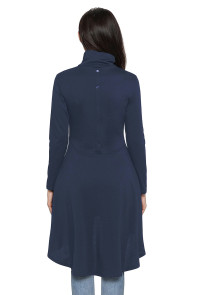 Navy Long Sleeve Pocket High Low Tunic