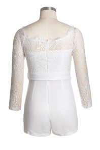 White Eyelash Lace Off Shoulder Sash Belt Playsuit