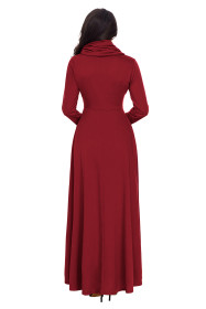 Wine Cow Neck Long Sleeve Maxi Dress