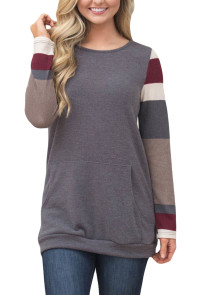 Multicolor Stripes Sleeve Pullover Light Gray Sweatshirt