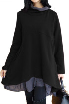 Cowl Neck Patchwork Black Loose Fit Sweatshirt
