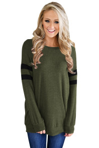 Green Striped Sleeve Women's Sweatshirt Top