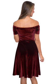 Burgundy Velvet Off Shoulder Pleated Midi Dress