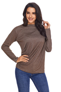 Coffee Long Sleeve Draped Round Neck T Shirt