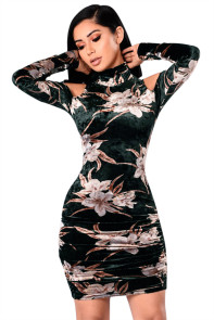Black Cold Shoulder Retro Floral Velvet Dress