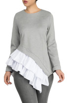 Gray Asymmetric Frill Hem Women's Top