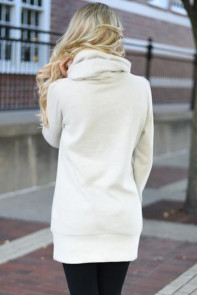White Funnel Neck Long Sleeve Pocket Hoodie