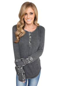 Gray Women's Floral Printed Casual Flare Tunic Tops