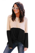 Black Colorblock Twist Women's Top