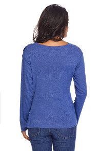 Blue Long Sleeve Draped Round Neck T Shirt
