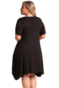 Black Casual Pocket Style Plus Size Jersey Dress