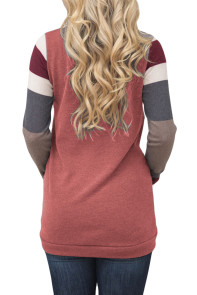 Multicolor Stripes Sleeve Pullover Red Sweatshirt
