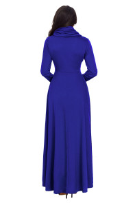 Royal Blue Cow Neck Long Sleeve Maxi Dress