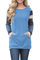Multicolor Stripes Sleeve Pullover Blue Sweatshirt