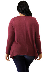 Burgundy Crisscross Yoke Knit Plus Size Top