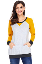 Yellow Raglan Sleeve Patch Elbow Sweatshirt Top