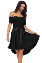 Black Lace Off Shoulder Dip Hem Prom Dress