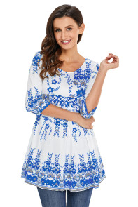 Blue Mottled Leaf Print White Elegant Long Top