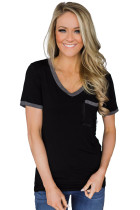 Gray Trimmed Black V Neck Pocket Top