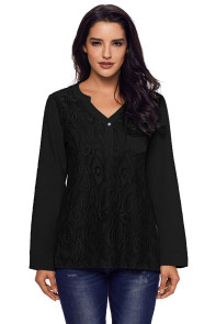 Black Lace Panel Split Neck Roll Tab Sleeve Blouse