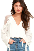 White Lace Long Sleeve Ruffle Shoulder Top