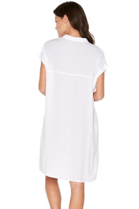 White Oversize Shirt Style Beach Cover Up